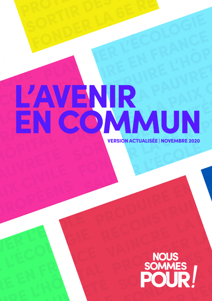 Couverture de l'Avenir en commun, version de novembre 2020